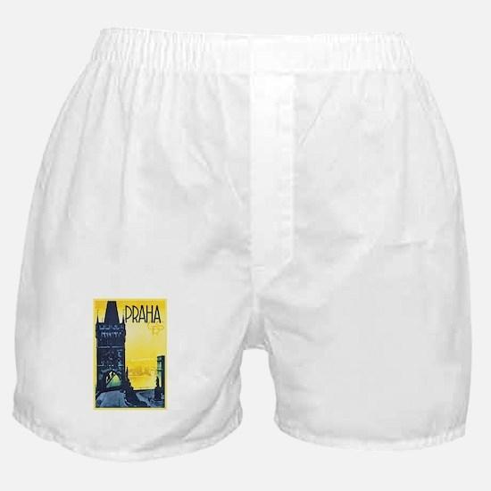 Prague Travel Poster 1 Boxer Shorts