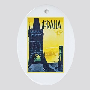 Prague Travel Poster 1 Ornament (Oval)