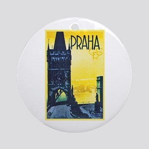 Prague Travel Poster 1 Ornament (Round)
