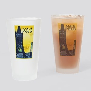 Prague Travel Poster 1 Drinking Glass