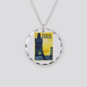Prague Travel Poster 1 Necklace Circle Charm