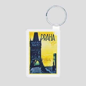 Prague Travel Poster 1 Aluminum Photo Keychain