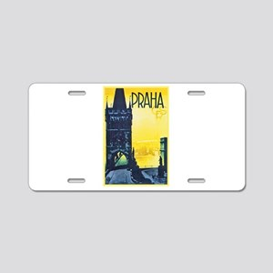 Prague Travel Poster 1 Aluminum License Plate
