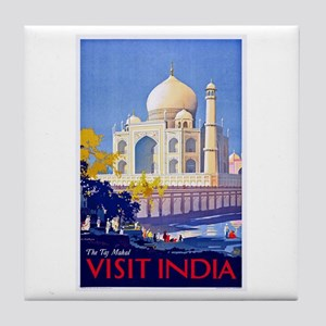 India Travel Poster 13 Tile Coaster