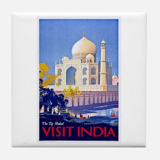 India Travel Poster 13 Tile Coaster