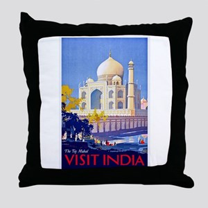 India Travel Poster 13 Throw Pillow