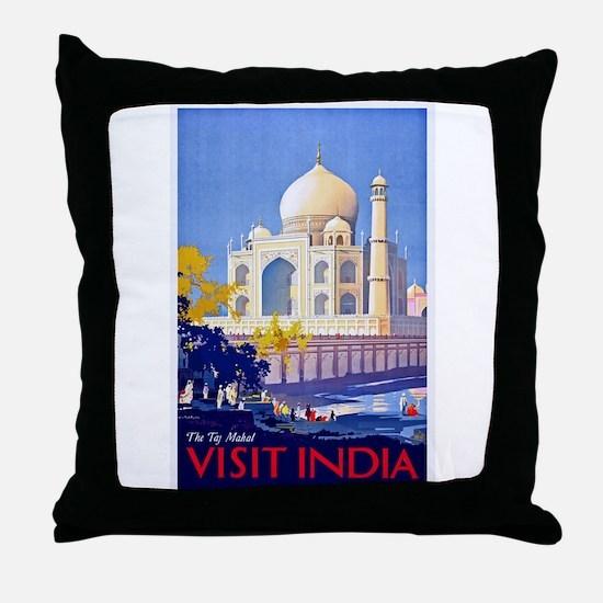 India Travel Poster 13 Throw Pillow