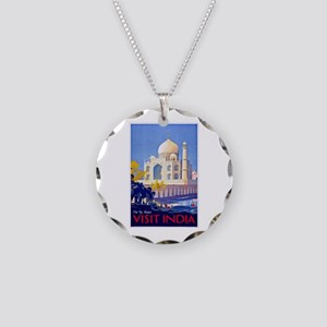 India Travel Poster 13 Necklace Circle Charm