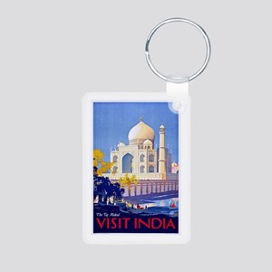 India Travel Poster 13 Aluminum Photo Keychain