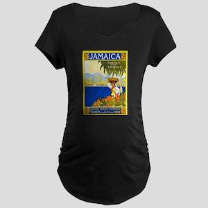 Jamaica Travel Poster 2 Maternity Dark T-Shirt