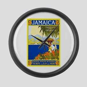 Jamaica Travel Poster 2 Large Wall Clock