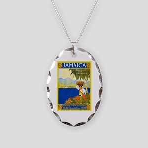 Jamaica Travel Poster 2 Necklace Oval Charm