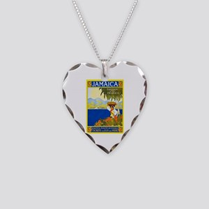 Jamaica Travel Poster 2 Necklace Heart Charm