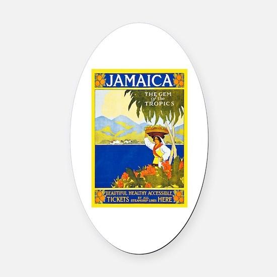 Jamaica Travel Poster 2 Oval Car Magnet