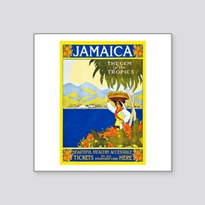"Jamaica Travel Poster 2 Square Sticker 3"" x 3"""