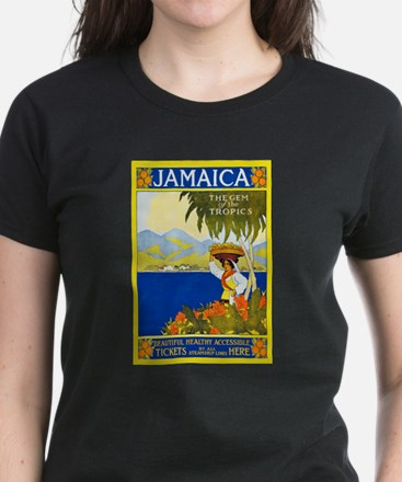 Jamaica Travel Poster 2 Women's Dark T-Shirt