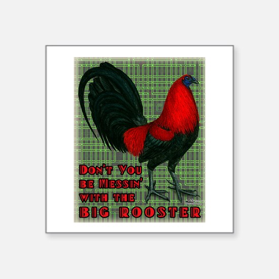 "Big Red Rooster2 Square Sticker 3"" x 3"""