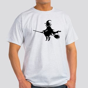 Halloween Witch on Broomstick Light T-Shirt