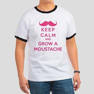 Keep calmd and grow a moustache Ringer T