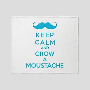 Keep calmd and grow a moustache Throw Blanket