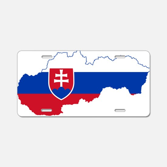 Slovakia Flag and Map Aluminum License Plate