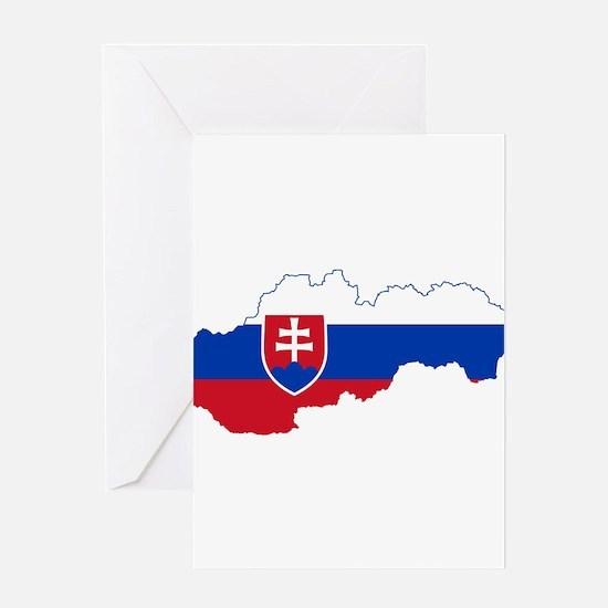 Slovakia Flag and Map Greeting Card