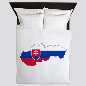 Slovakia Flag and Map Queen Duvet