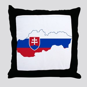 Slovakia Flag and Map Throw Pillow