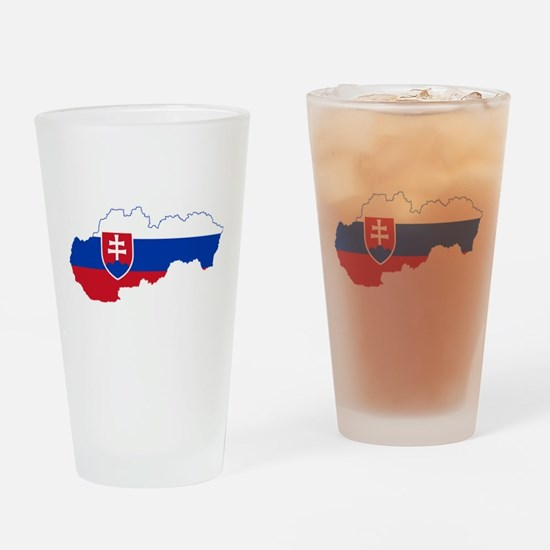 Slovakia Flag and Map Drinking Glass