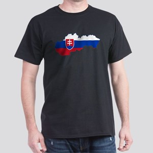 Slovakia Flag and Map Dark T-Shirt