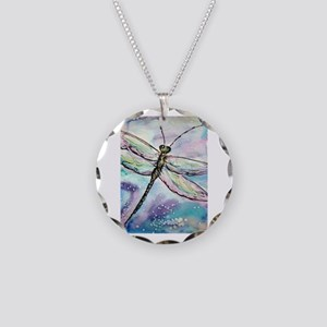 Dragonfly! Nature art! Necklace Circle Charm