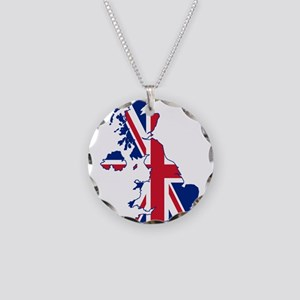 United Kingdom Flag and Map Necklace Circle Charm