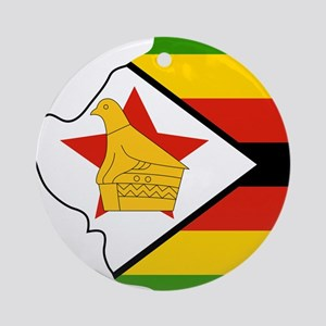Zimbabwe Flag and Map Ornament (Round)