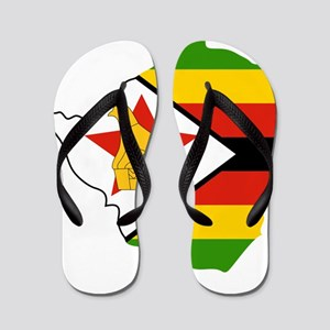 Zimbabwe Flag and Map Flip Flops