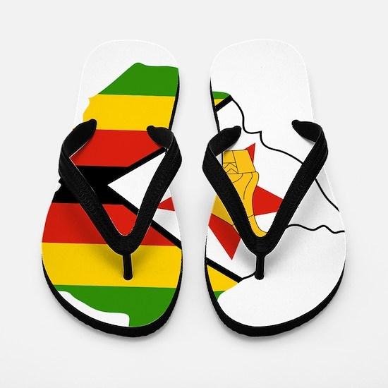 Zimbabwe Flag and Map Flip Flops