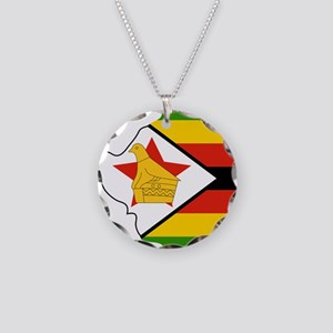 Zimbabwe Flag and Map Necklace Circle Charm