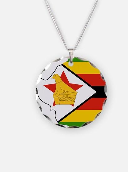 Zimbabwe Flag and Map Necklace
