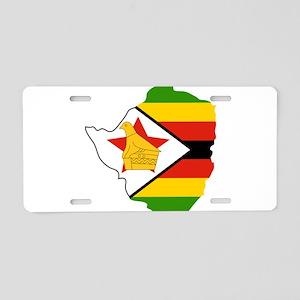 Zimbabwe Flag and Map Aluminum License Plate