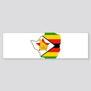 Zimbabwe Flag and Map Sticker (Bumper)
