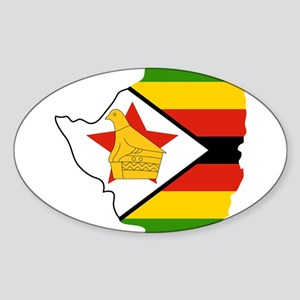 Zimbabwe Flag and Map Sticker (Oval)
