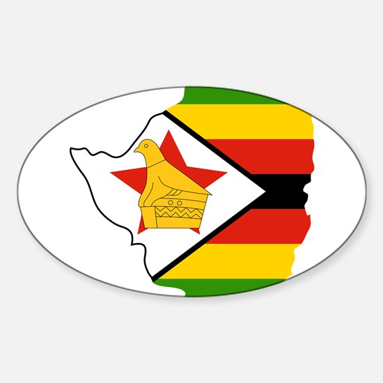 Zimbabwe Flag and Map Sticker (Oval)