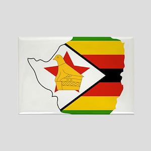 Zimbabwe Flag and Map Rectangle Magnet