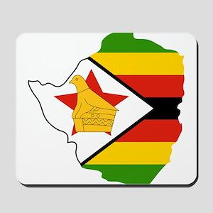 Zimbabwe Flag and Map Mousepad