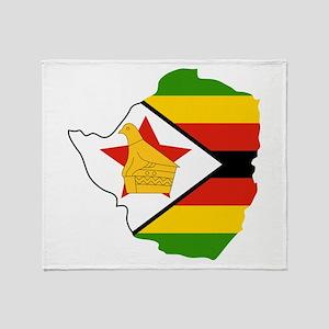 Zimbabwe Flag and Map Throw Blanket
