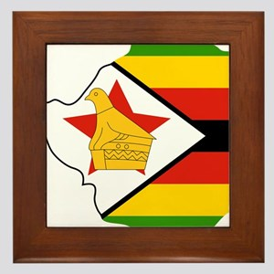 Zimbabwe Flag and Map Framed Tile