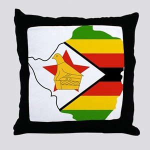 Zimbabwe Flag and Map Throw Pillow