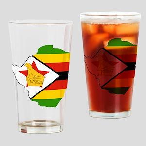 Zimbabwe Flag and Map Drinking Glass
