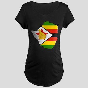 Zimbabwe Flag and Map Maternity Dark T-Shirt