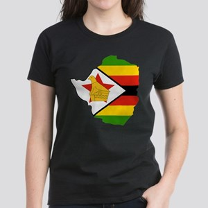 Zimbabwe Flag and Map Women's Dark T-Shirt