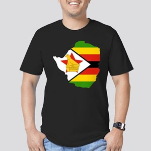 Zimbabwe Flag and Map Men's Fitted T-Shirt (dark)